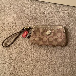 Coach Tan Wristlet with Double Pockets
